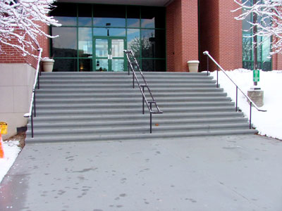 WarmQuest snow melting system melts snow and ice on steps and entrance